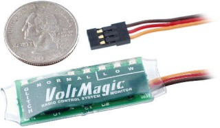 The ultimate radio control battery or regulator voltage monitor,  plus glitch counter.  Record abnormal low voltages, display the current average voltage, and count glitches or failsafes.  It's even a data logger that stores the glitch or failsafe count and abnormal low voltages even after the power is turned off.  The previous flight's data is played back on power up.